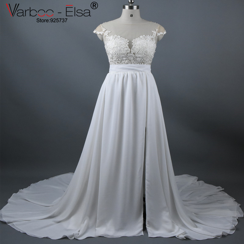 Vintage chiffon beach wedding dress summer white cap for White summer wedding dress