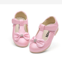 Spring Autumn kids shoes for girl bowknot Rhinestone baby Dance Wedding Party Girls Shoes 3-15years