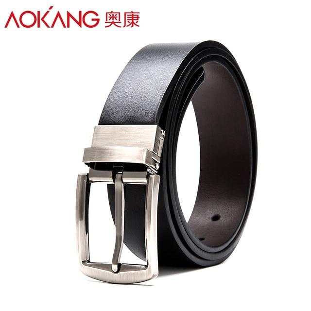Aokang 2016 Unique Mens Belts Genuine Leather Black Pin Buckle Cowboy Belts Metal Buckle Belt Free Shipping Wholesale