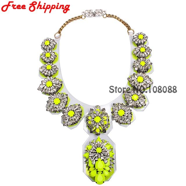 Fashion Luxury Crystal Pendant Bib Shourouk Necklace Vintage Neon Yellow Pvc Jewelry Collar