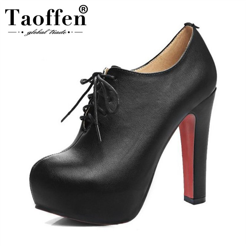 TAOFFEN Plus Size 34-48 Women Pumps High Heel Shoes Lace Up PU Leather Shoes Women Platforms Autmun Party Shoes Prom FootwearTAOFFEN Plus Size 34-48 Women Pumps High Heel Shoes Lace Up PU Leather Shoes Women Platforms Autmun Party Shoes Prom Footwear
