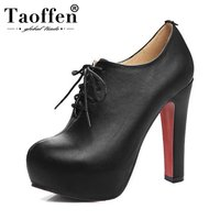 TAOFFEN Plus Size 34 48 Women Pumps High Heel Shoes Lace Up PU Leather Shoes Women Platforms Autmun Party Shoes Prom Footwear