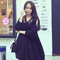 2016 spring professional plus size clothing lace patchwork chiffon loose one-piece dress maternity batwing sleeve black dress