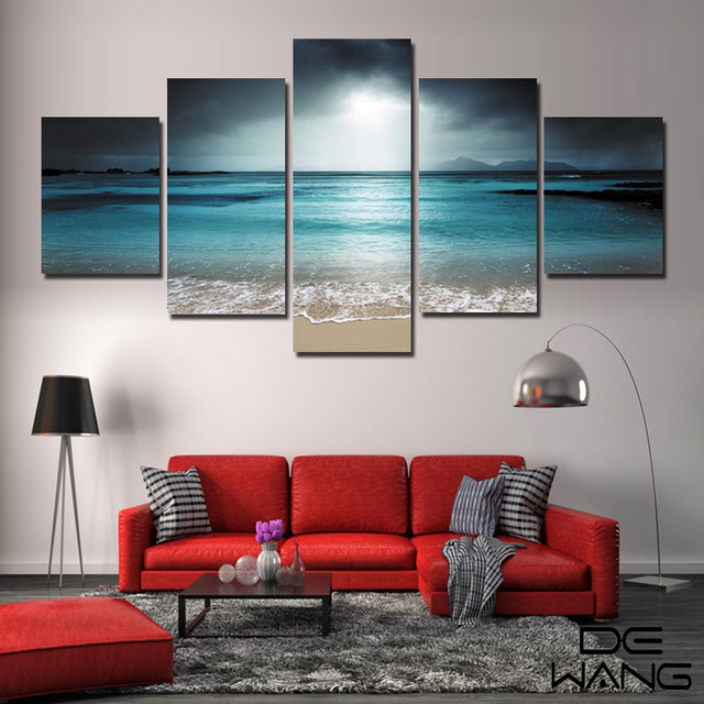 5 Panel Seascape Canvas Painting Sea Wave Beach Wall Art Cuadros Wall  Picture For Living Room