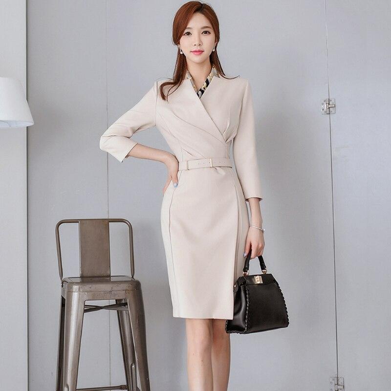 2018 Women Spring Autumn Dresses Straight Elegant Vantage Vestidos Office Lady High Waist Belted Wrap Dress