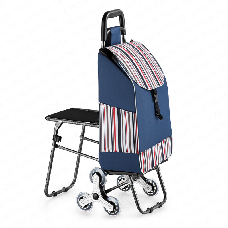 Climbing Shopping Trolley Folding Portable Grocery Shopping Home Stool Seat Cart Old Man Trolley Shopping Small Pulling