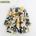 Menoea 2017 New Autumn Girls Dress Cartoon Girls Clothes Long Sleeve Cartoon Forest Animals Graffiti for Kids Dresses