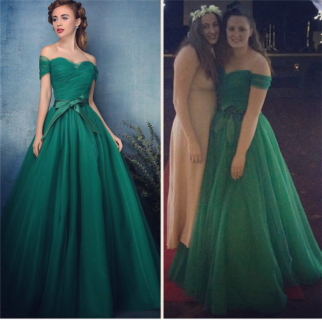 Hot Sale Sweetheart Tulle Sleeveless A-Line Evening Dress Off Shoulder  Green Evening Gowns New Arrival 2017 Formal Dresses 2f6ba7a22666