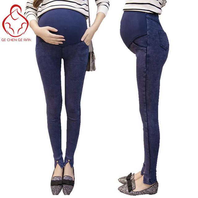 2017 mulher Grávida jeans stretch de cintura alta Leggings mulheres grávidas calças barriga calças de maternidade de maternidade roupas de grávida