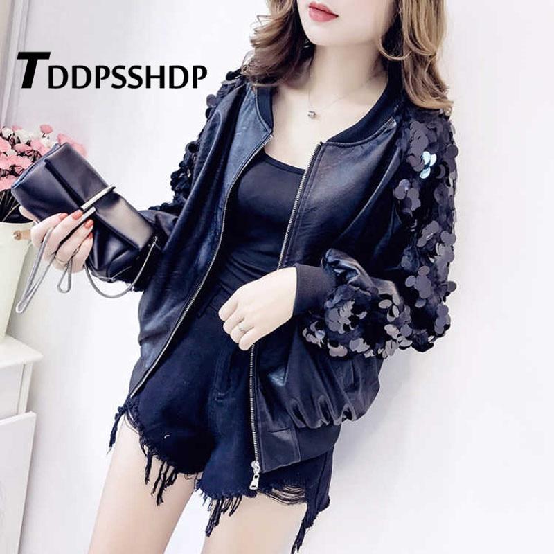Sequins Pu   Leather   Women Coat 2019 Spring Korean Black Color Motorcycle Zipper Long Sleeve Female Jacket