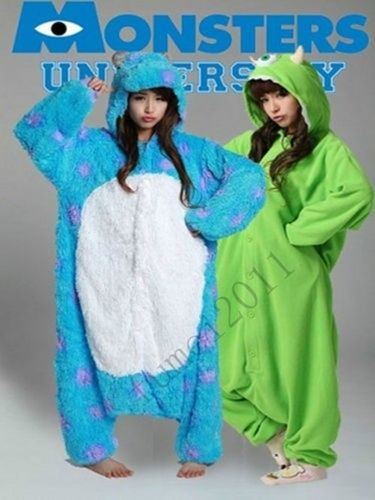 Free shipping New Adult Monsters University Mike Wazowski /sully Costume Onesie Pyjamas Cosplay