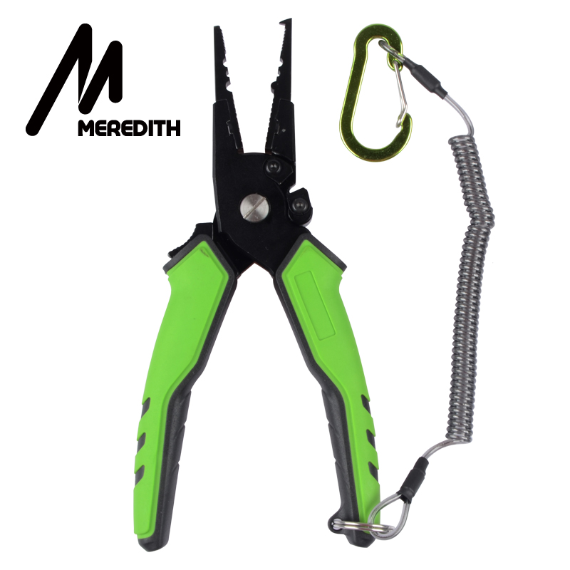 MEREDITH Multifunctional Aluminum Alloy Fishing Pliers Split Ring Cutter Fishing Holder Tackle With Sheath&Retractable Tether