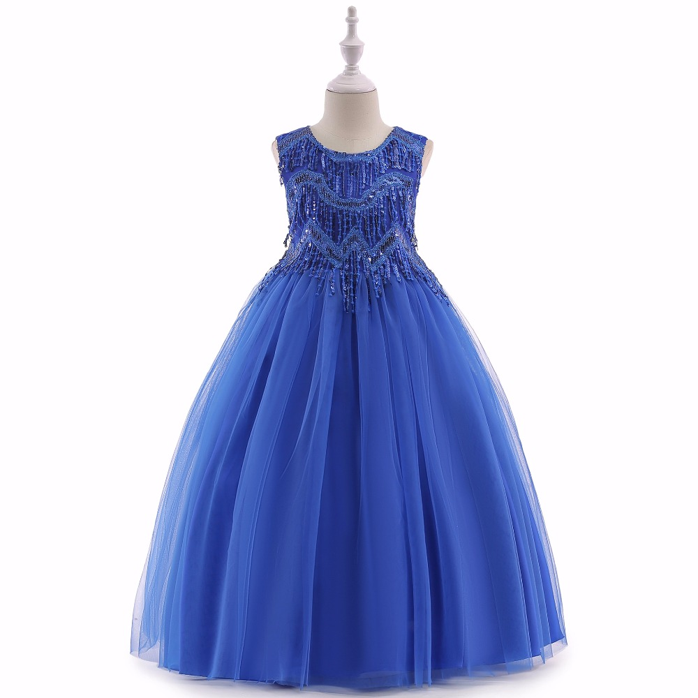 2018 New Royal Blue   Flower     Girl     Dresses   Princess A Line Formal Wear Gowns Appliqued Sash Long   Girl   Pageant LP-206