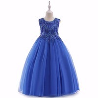 2018 New Royal Blue Flower Girl Dresses Princess A Line Formal Wear Gowns Appliqued Sash Long Girl Pageant LP 206