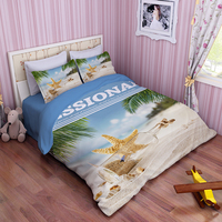 Shell Starfish Bedding Sets 3d Painting Blue Ocean Bed Clothes 3 4pc Queen Twin Full King