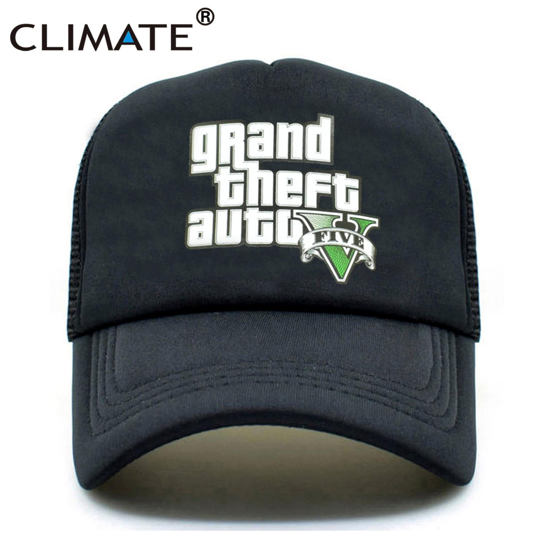 CLIMATE Grand Theft Auto V 5 GTA 5 Trucker Caps Hot Game GTA 5 Fans Caps Summer Cool Black Baseball Mesh Net Trucker Caps Hat