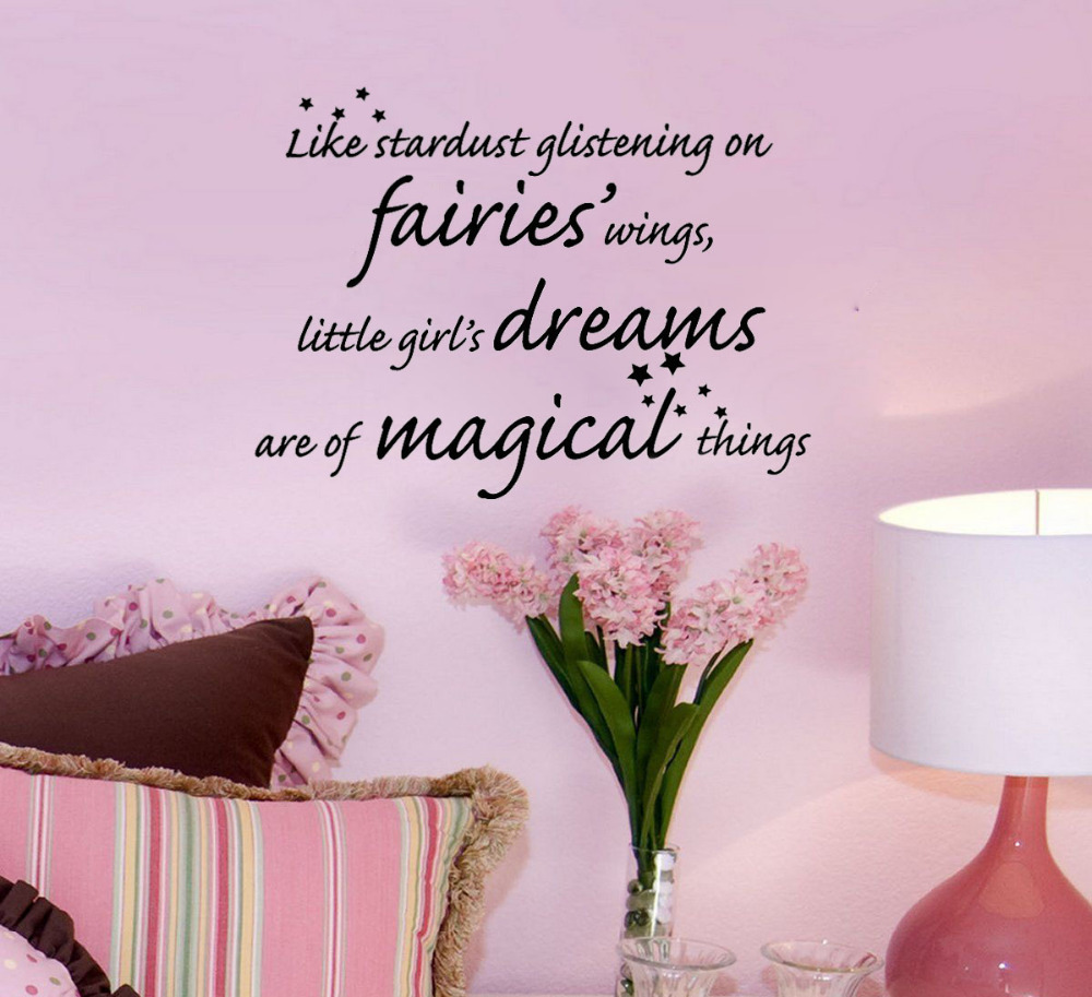 Little Girls Dreams Magical Girl S Room Fashion Wall Sticker Art Quote Vinyl Removable Decor