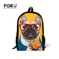 FORUDESIGNS Sevimli Pug Köpek Çocuk Okul Sırt Çantası Çocuk Boy & Kız için, çocuk Moda Okul Kitap Çanta, Seyahat Mochila Sırt Çantası Çanta