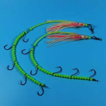 2 sztuk #4 przynęty przynęty na słonowodne Luminous longtail octopus drut stalowy rig barracuda eel małe makrela sprzęt wędkarski