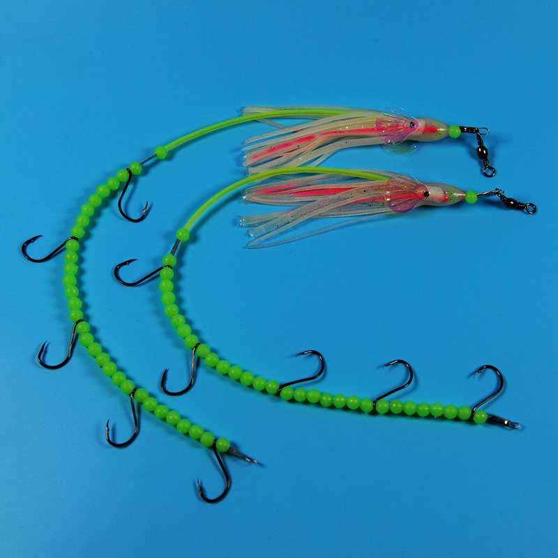 2pcs #4 <font><b>Fishing</b></font> <font><b>Lure</b></font> Bait for saltwater Luminous longtail octopus steel wire rig <font><b>barracuda</b></font> eel small mackerel <font><b>fishing</b></font> rig image