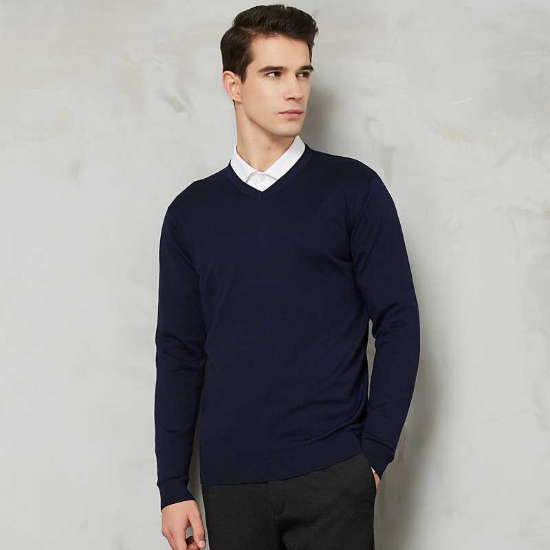 14 색 2020 가을 뉴 남성 니트 풀오버 캐시미어 스웨터 캐주얼 비즈니스 V-칼라 얇은 슬림 피트 스웨터 브랜드 의류