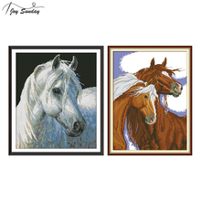 Joy Sunday Counted Cross Stitch Horse Patterns Aida Fabric 14 11 CT Embroidery DMC DIY Printed Canvas Hand Needlework Set