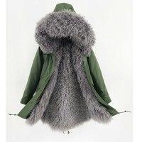 Natural mongolia sheep fur winter coats women real fur coat outerwear 2018 new parkas Jackets Russian women warm overcoat