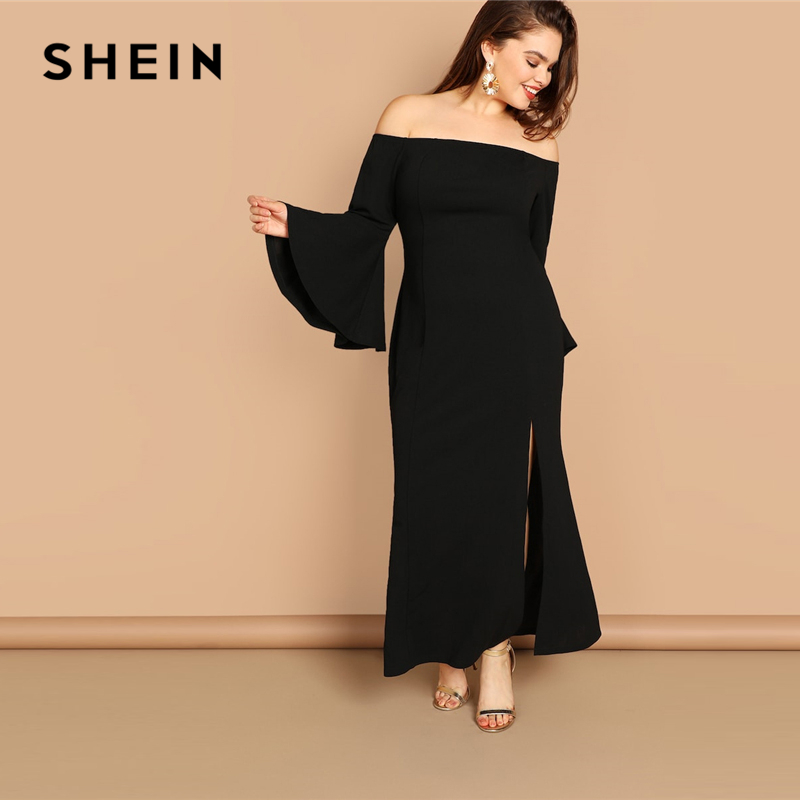 8cb8e2c3a6 SHEIN Plus Size Black Bell Sleeve Slit Front Fishtail Bardot Ruffle Hem  Sheath Dress Women 2019