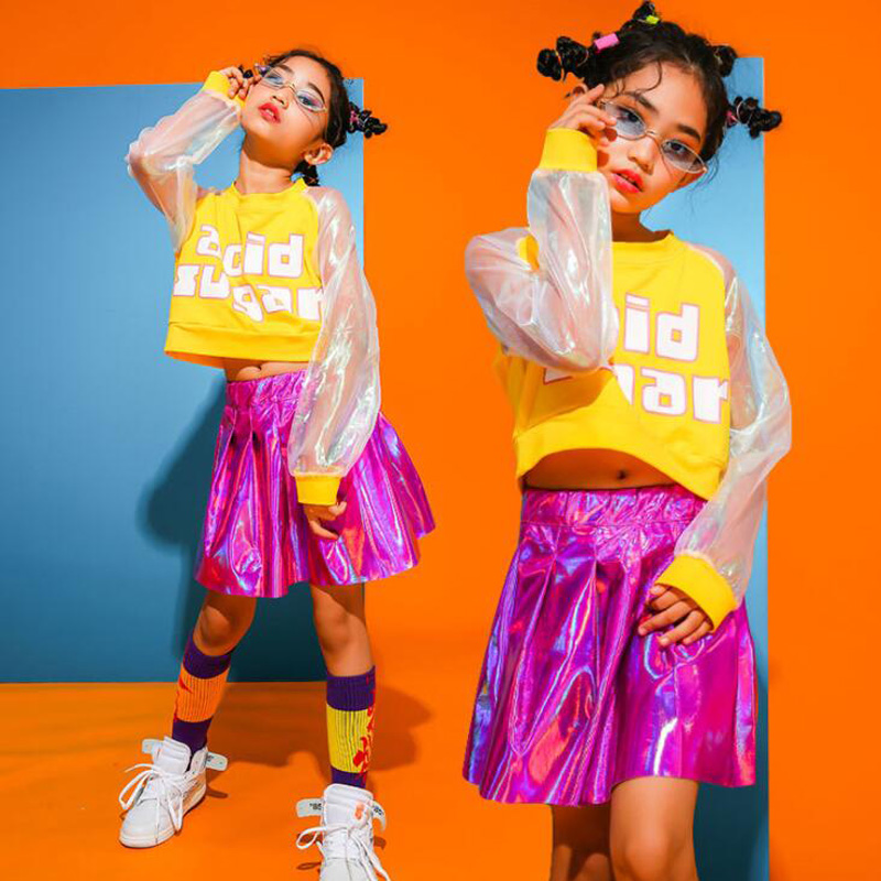 Kid Hip Hop Clothing Casual Tops Sequined Skirt for Girls Children Jazz Dance Costume Ballroom Dancing Clothes Streetwear