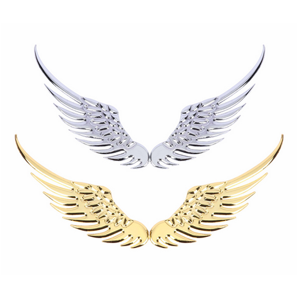 2PCS/Pair 3D Stereo Metal Angel Wing Car Stickers Decoration Badge Emblem Chrome  Auto Sticker Decal 3d Big Wings Sti