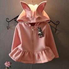 2016 New Baby Girls Cute Rabbit plus velvet hoodies Coat Kids Girl cartoon fashion princess Clothing  Retail and wholesale 20W