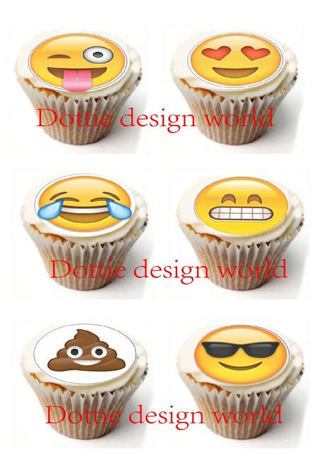 24 Emojis Edible Cake Topper Wafer Rice Paper For Cake Decoration