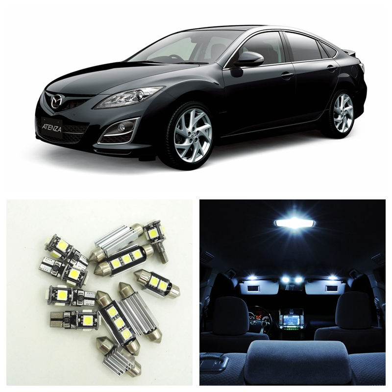 12pcs Xenon White LED Light Bulbs Interior Package Kit For 2009 2010 2011 Mazda 6 Map Dome Trunk License Plate Lamp deechooll 2pcs wedge light for mazda 2 3 5 6 mx5 rx8 cx7 626 gf gg ge gw canbus t10 57smd 6w led clearance xenon lighting bulbs