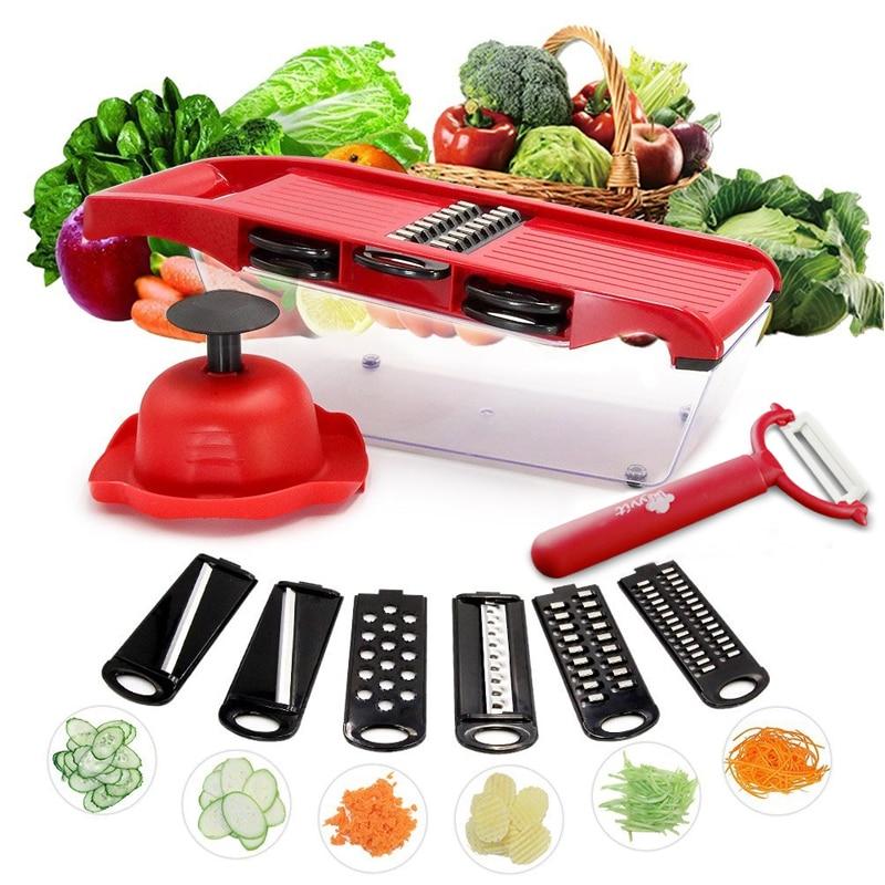 Gemüseschneider Reibe Mandoline Peeler Cutter Multifunktions Karotte Zwiebel Obst Werkzeuge Küchenzubehör Kochen