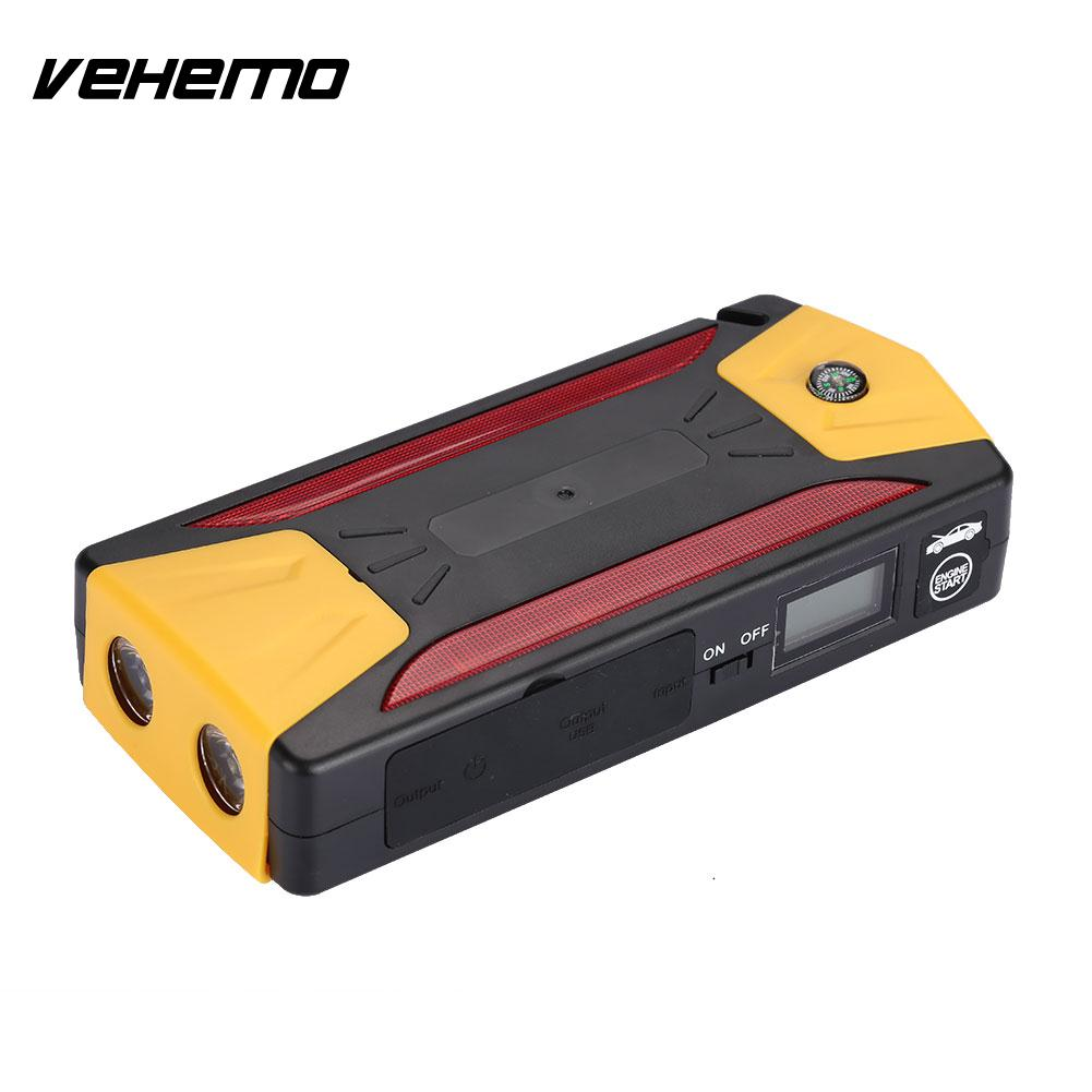 Vehemo 4USB Car Jump Starter Outdoor Power Bank Case Universal DIY Battery Charger Mobile Phone SOS No Battery