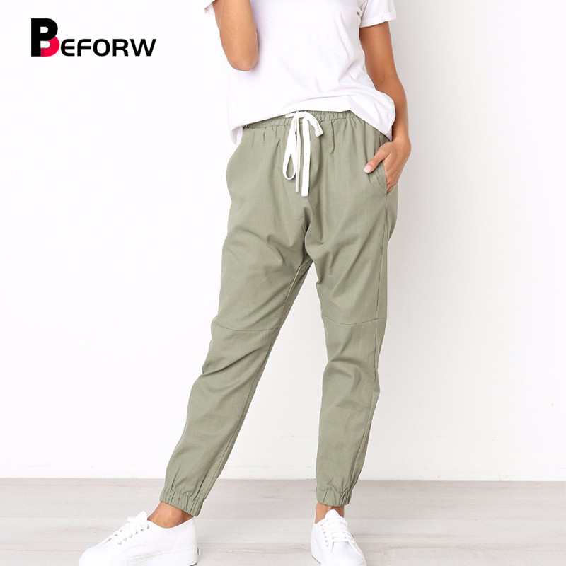 BEFORW Casual High Elastic Waist Drawstring Slim Pencil Pants Female Sweatpants 2018 Women Autumn Joggers Pants Trousers