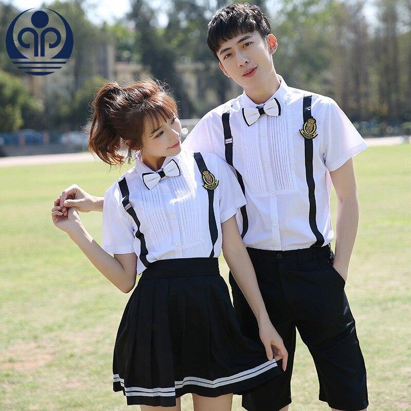 Students School Uniform Decorate Strap Decoration Short Sleeve School Wear Short-sleeved 2pcs Middle School Clothes D-0565