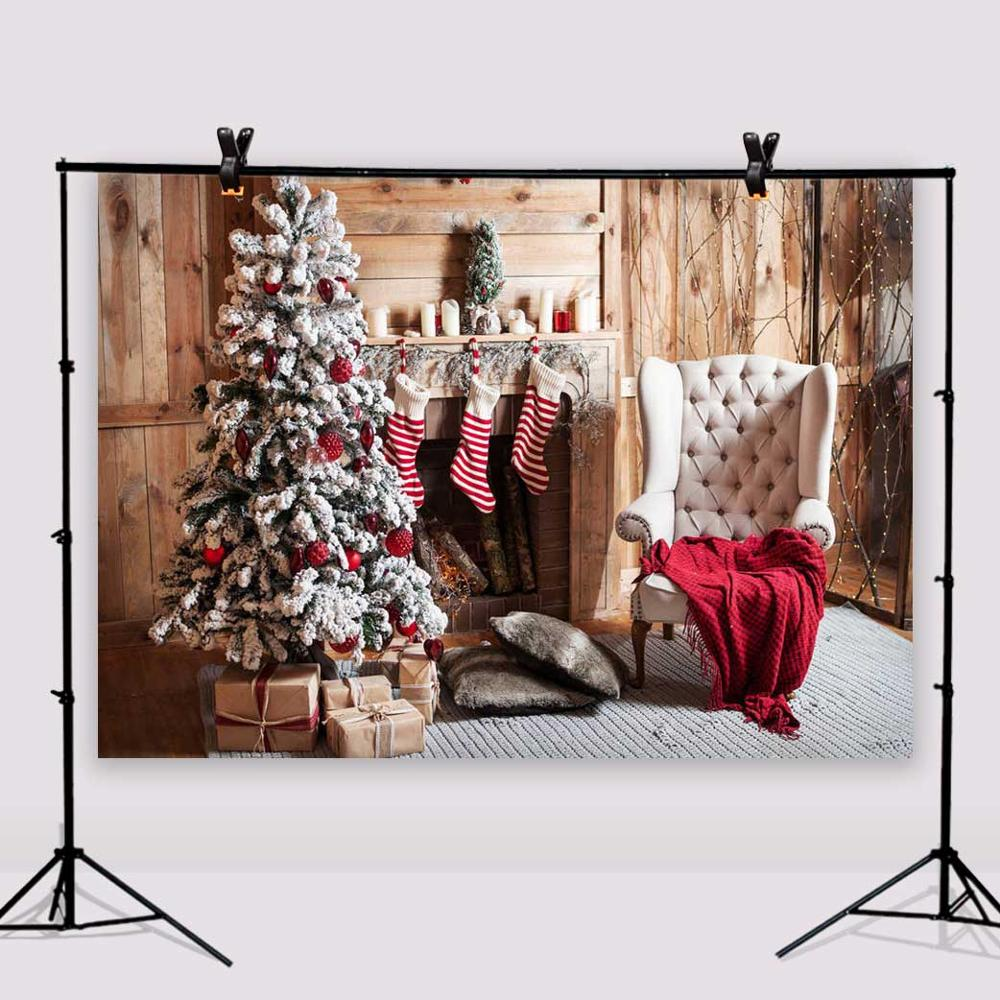 Sofa Vinyl Background Christmas Tree Photo Studio Wooden Floor Photography Backdrops 7x5ft or 5X3ft Christmas126 цена и фото