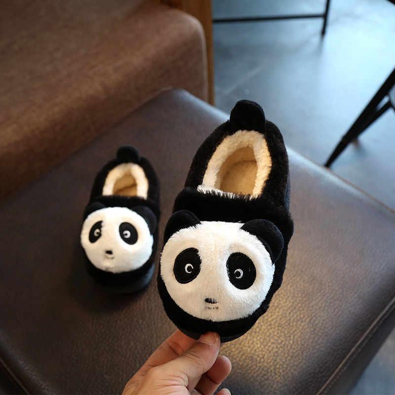 ベビー幼児の少年少女漫画の動物のパンダホームスリッパリトルキッズフェイクファー冬暖かい屋内ブーツ子供の家の靴
