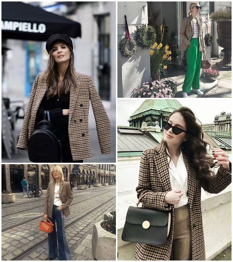 Image 3 - Vintage Double Breasted Plaid OL Blazers Coat Women 2019 Fashion Long Sleeve Office Ladies Outerwear Casual Workwear Jacket Tops-in Blazers from Women's Clothing