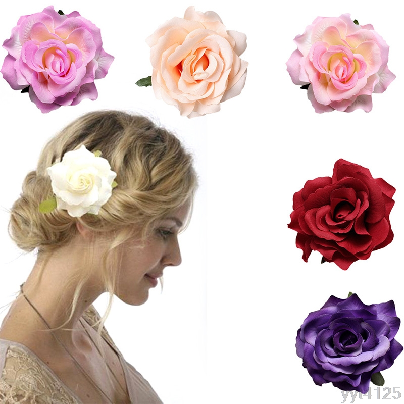 Women Girls Bridal Rose Flower Hair Clip Hairpin Headwear Brooch Wedding Party Floral Styling Tool Metal Accessory W110