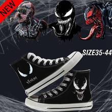 Venom Marvel Hero Printing Graffiti High Heel Double-Layer Canvas Sneakers College Customized Fashion Plimsoll