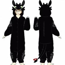 New How to Train Your Dragon Night Fury Toothless Cosplay Costumes Pajamas Bathrobe Women Man Sleepwear Warm Thicken Jumpsuits