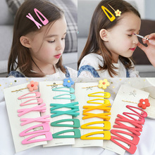 7Pcs/Lot Flower Headband Ins Style Hair Clips Set Korean Bangs BB Barrettes Colorful Mental Snap Fashion Accessories