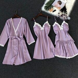 Image 4 - ZOOLIM נשים פיג מה סטי 4 חתיכות סאטן הלבשת פיג מה משי בית ללבוש תחרה חזה רפידות ספגטי רצועת שינה טרקלין Pyjama