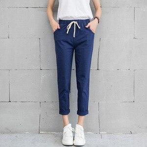 Image 3 - New Women Casual Harajuku Spring Autumn Big Size Long Trousers Solid Elastic Waist Cotton Linen Pants Ankle Length Haren Pants