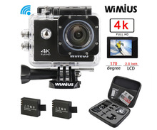 Wimius 4K Action Sports Camera Ultra HD Wifi 2.0″ Lens 16MP 1080P Mini Video Helmet Cam go Underwater 40M Pro + Protective Bag