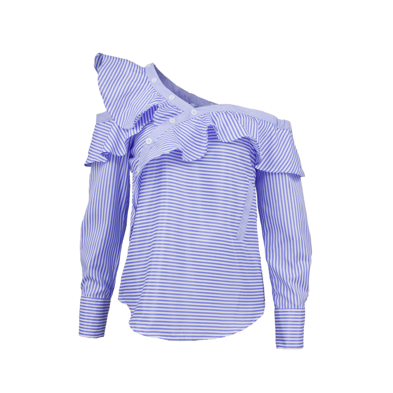 One shoulder off ruffles blouse shirt women tops 2017 spring Casual blue striped shirt Long sleeve