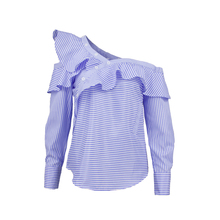 One shoulder off ruffles blouse shirt women tops 2017 spring Casual blue striped shirt Long sleeve cool blouse winter blusas