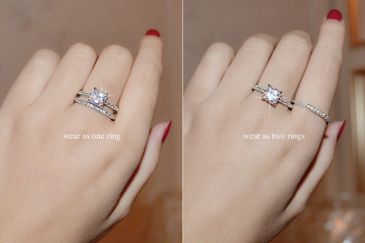 Umode Brand Engagement Ring Set Two Band 1 6 Carat Princess Cut Zirconia Crystal Wedding Rings For Women Hot Anillos Anel Ur0139 In From Jewelry
